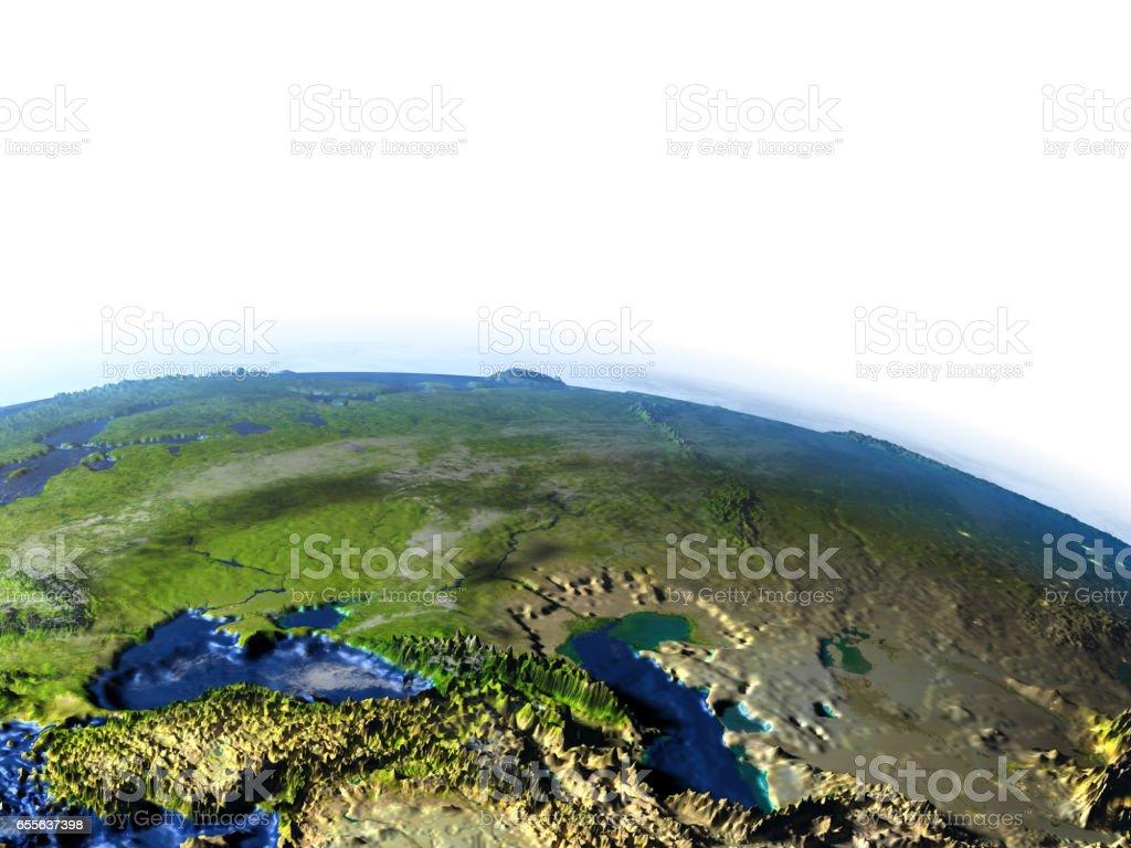 Western Asia on Earth - visible ocean floor stock photo