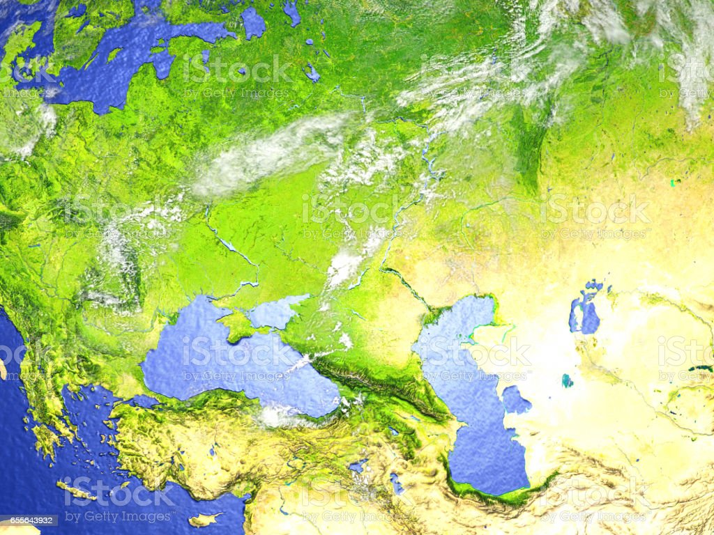 Western Asia on realistic model of Earth stock photo