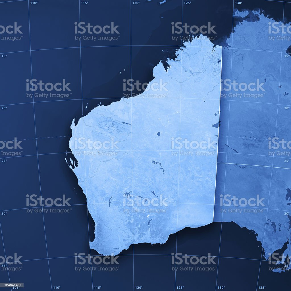 Western Australia Topographic Map royalty-free stock photo