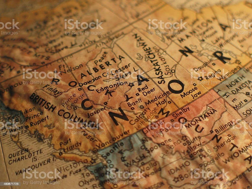 Western Canada is on the Map royalty-free stock photo