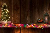 Western Christmas w/tree  on mantel