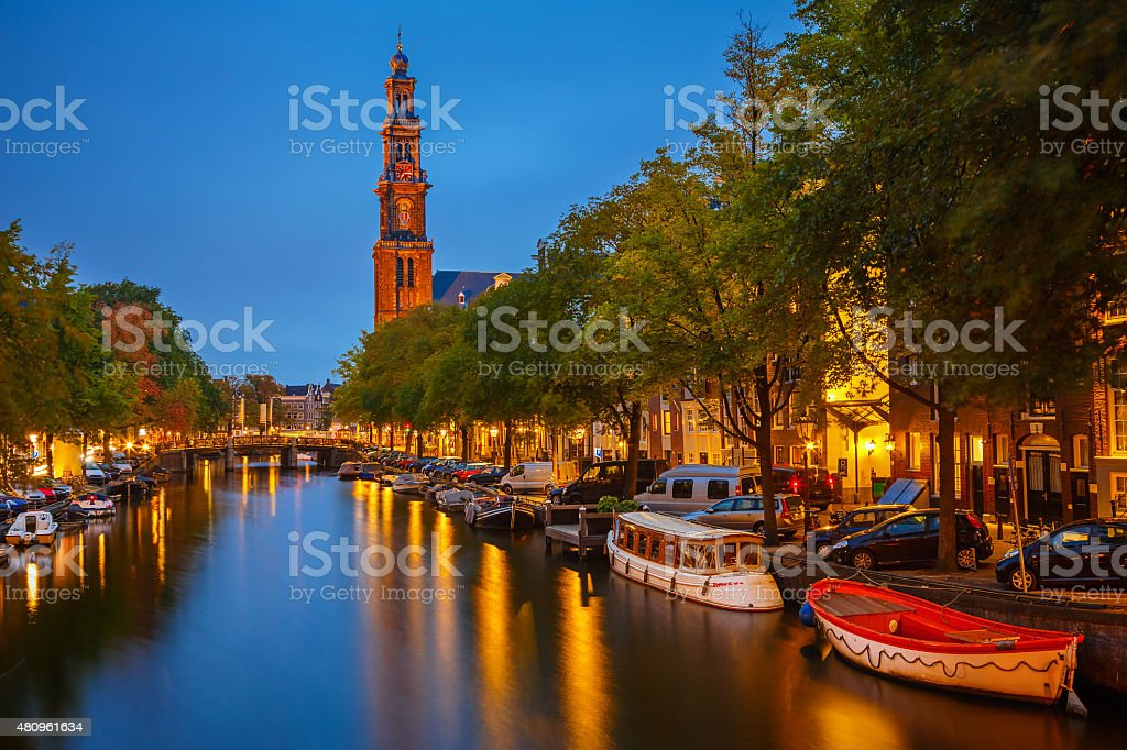 Western church in Amsterdam stock photo