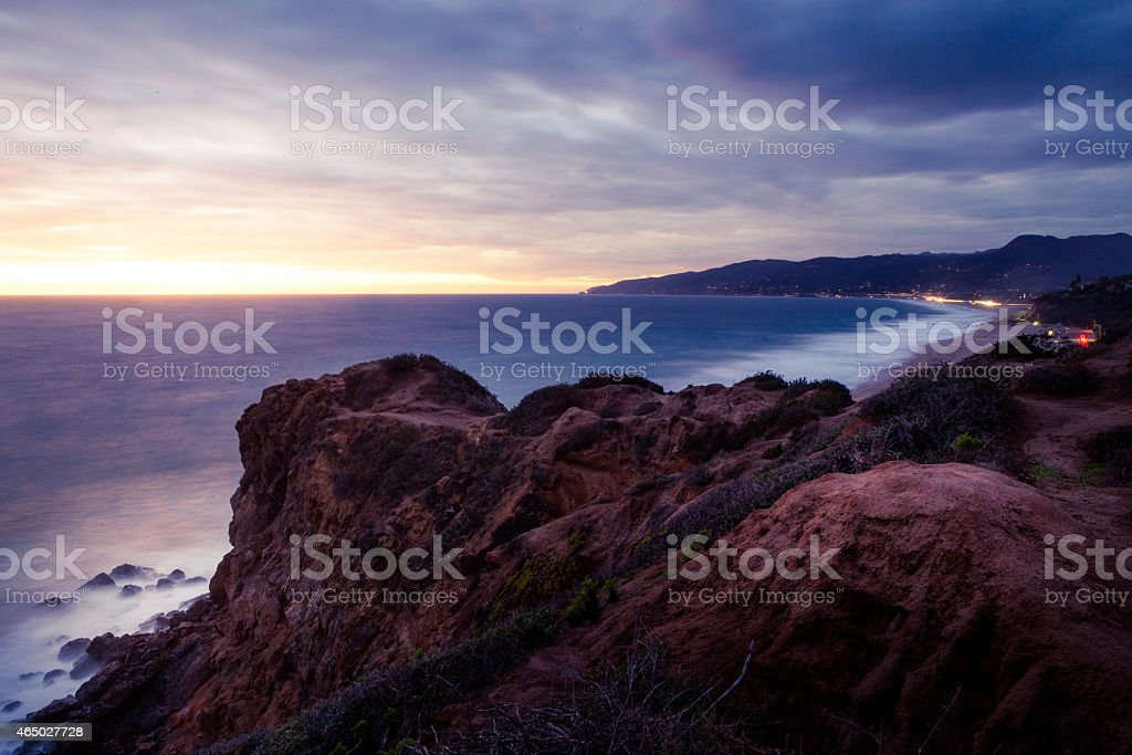 Western Coastline of Malibu From Point Dume At Sunset royalty-free stock photo