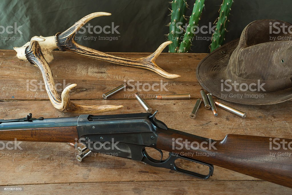 Western concept with hunting carbine stock photo
