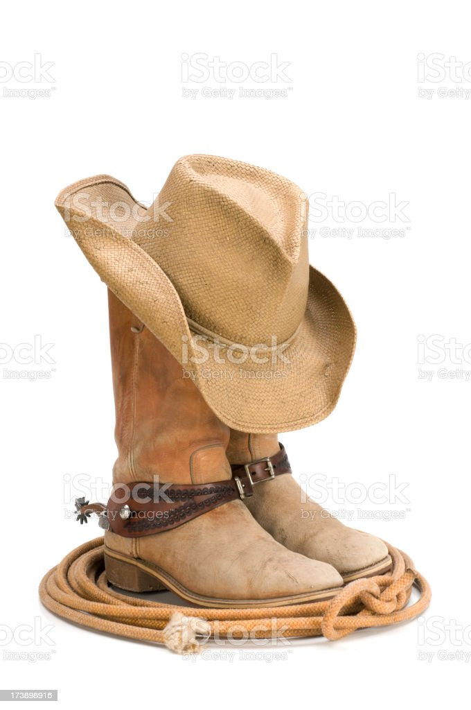 Western cowboy boots,spurs,hat,lasso-isolated on white stock photo