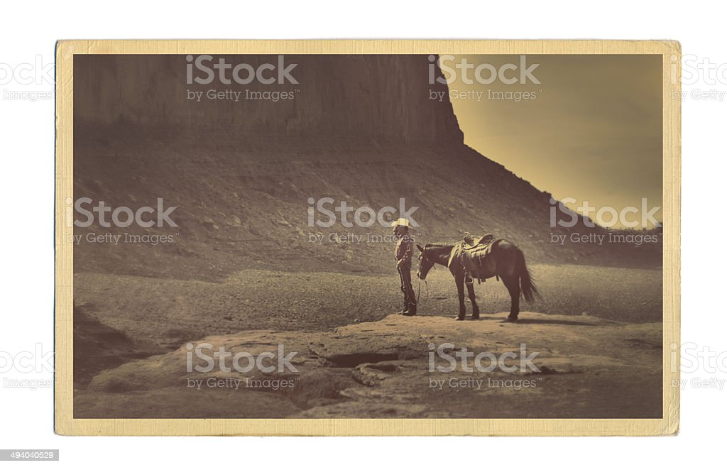 Western Cowboy Retro Postcard stock photo