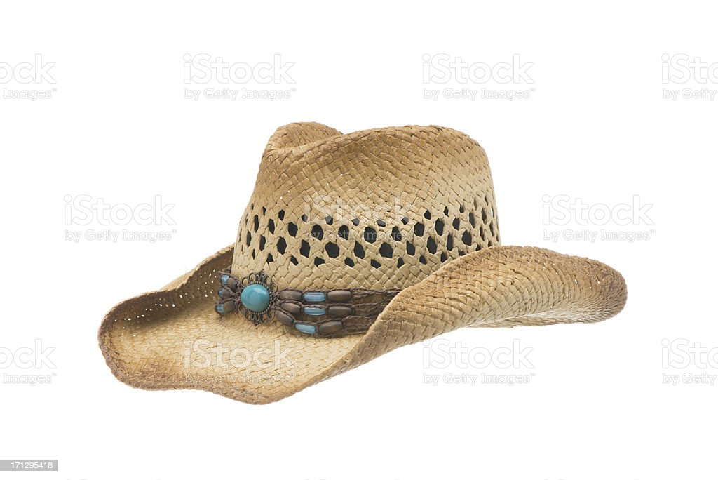 Western Cowgirl straw hat-isolated on white royalty-free stock photo