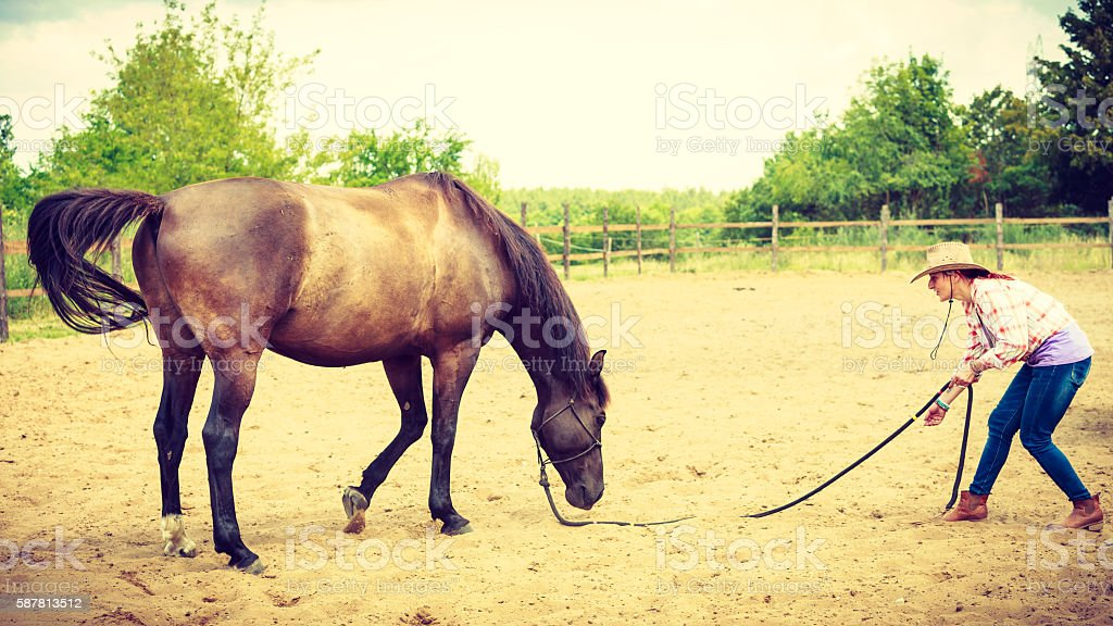 Western cowgirl woman with horse. Sport activity stock photo