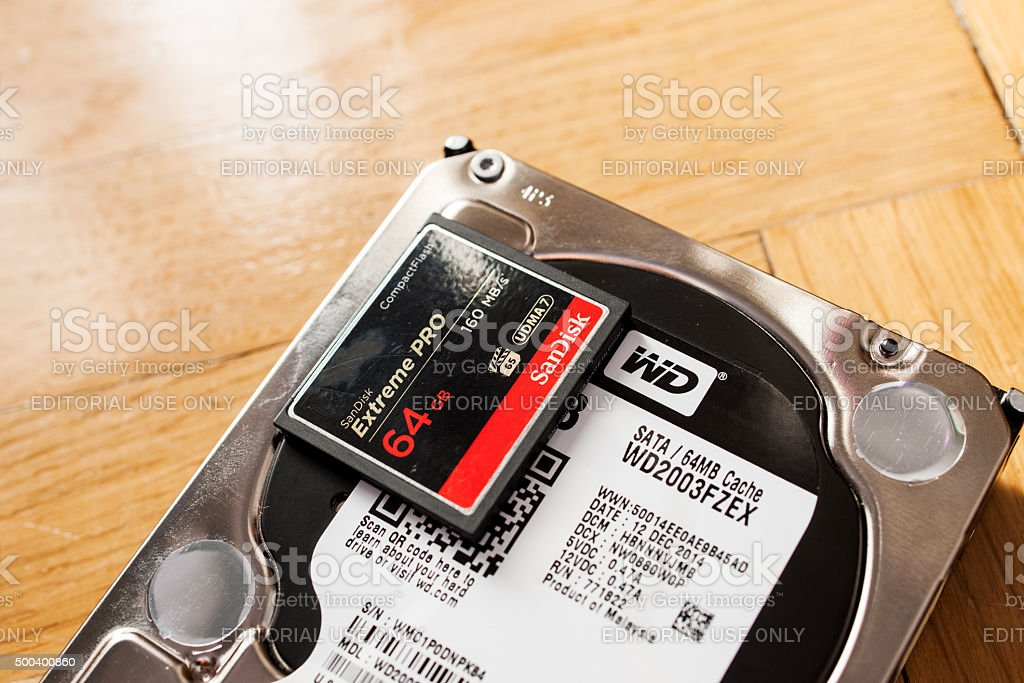 Western Digital HDD with SanDisk Ultra fast CF Card stock photo