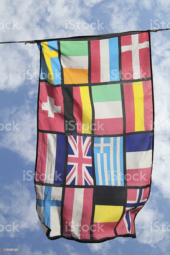 Western European Nations flag mixture stock photo