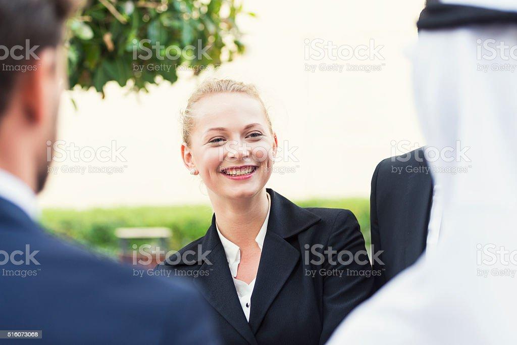 Western expat woman in Dubai stock photo