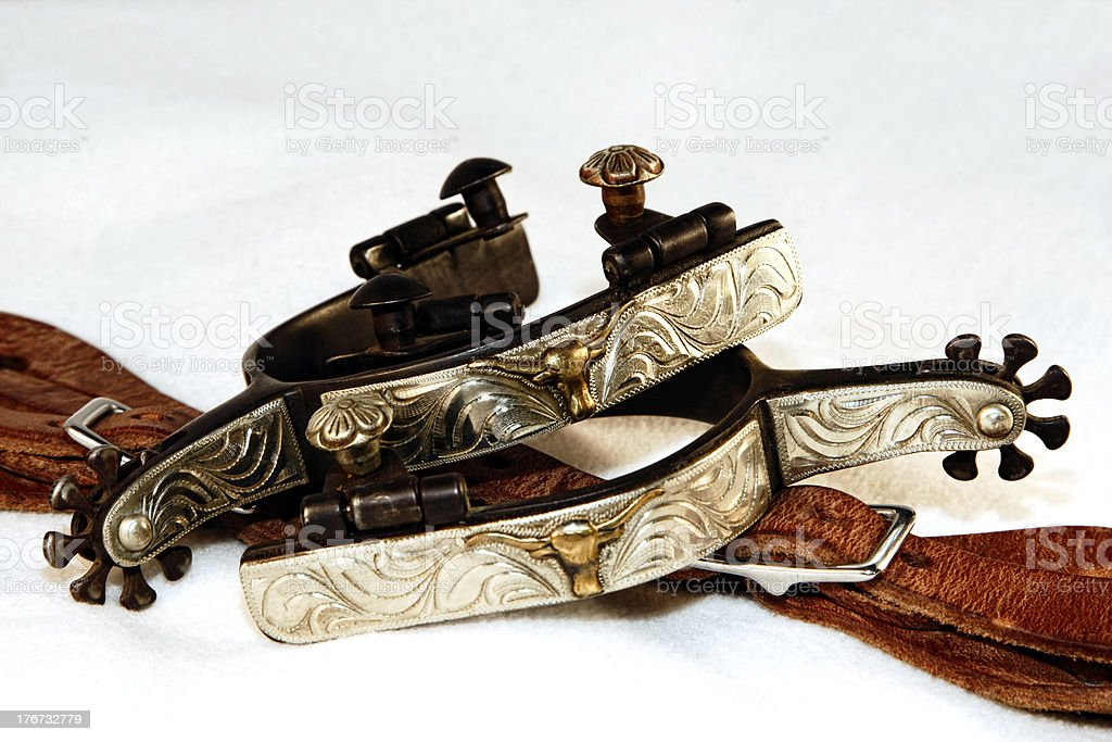 Western Fancy Spurs and Leathers royalty-free stock photo