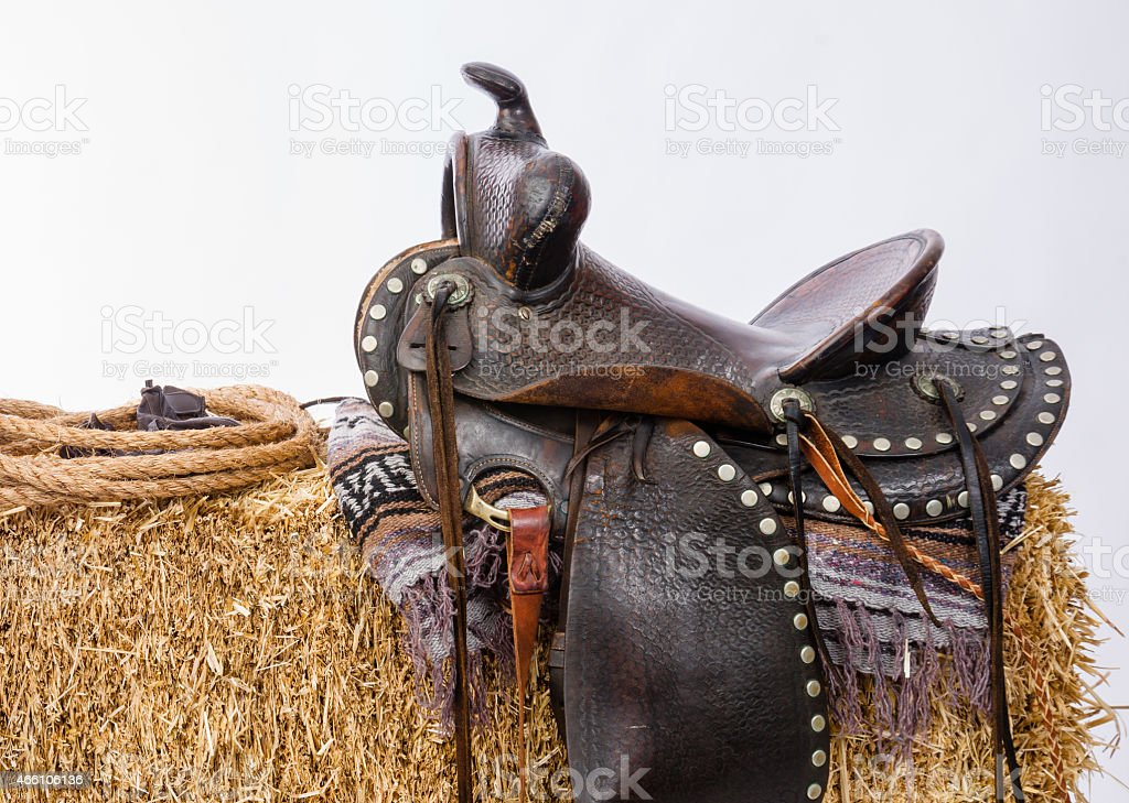 Western Gear Artist's Saddle Tack Gloves Rope Hay Bale stock photo