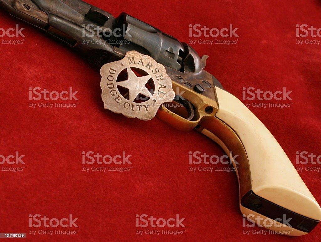 Western Gun and badge stock photo