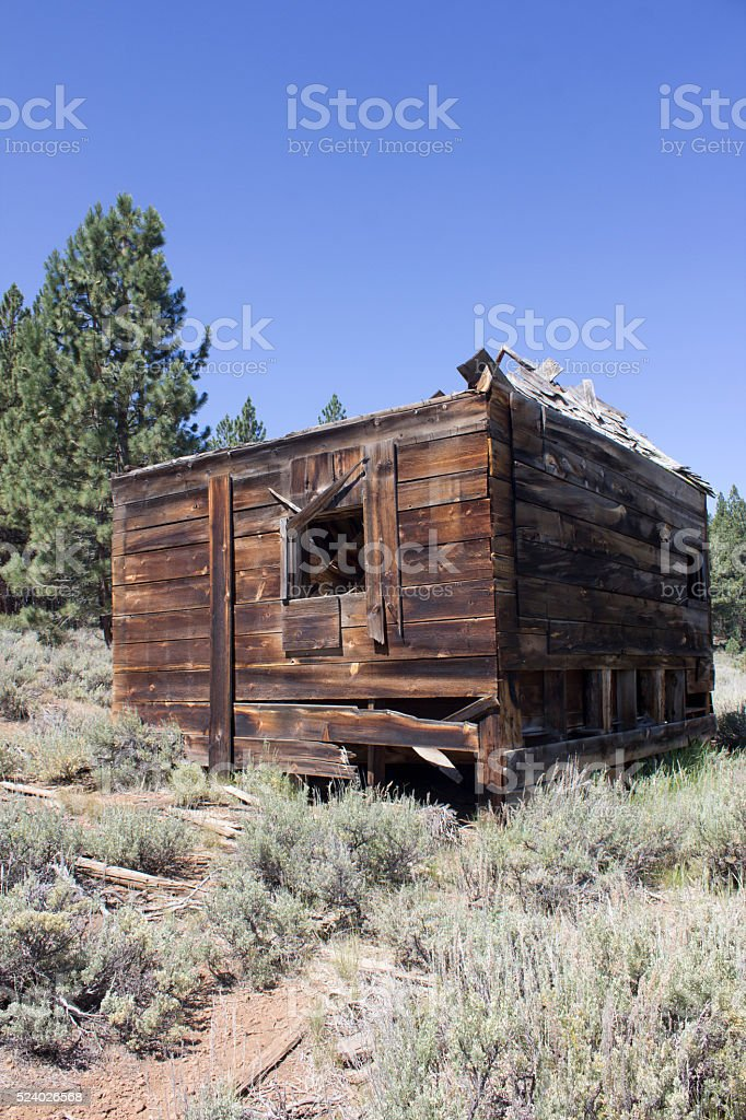 Western house or barn that has been abandoned stock photo