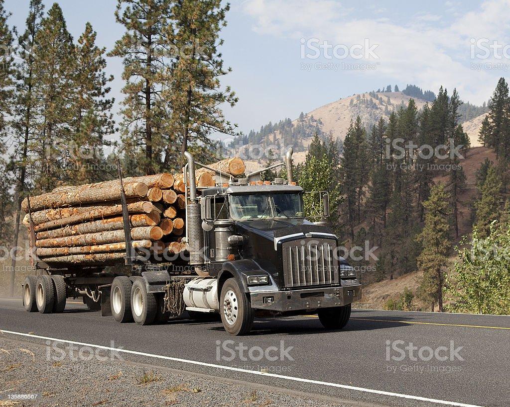 Western long log tandem trailer truck near Kamiah Idaho stock photo