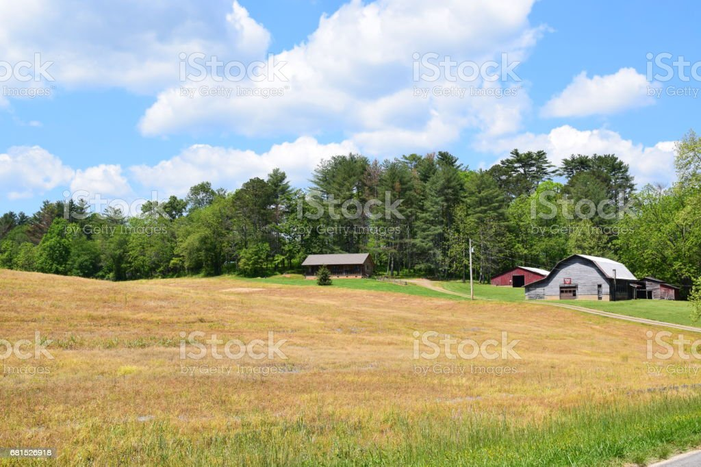 Western NC farm and field with clouds stock photo