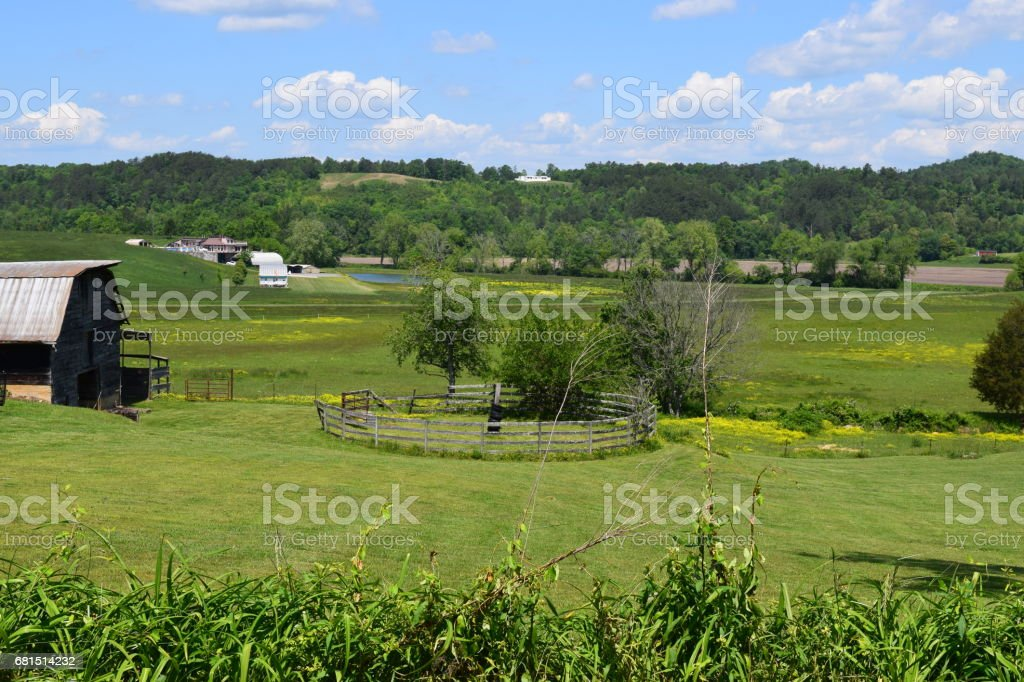 Western NC farm with barn stock photo