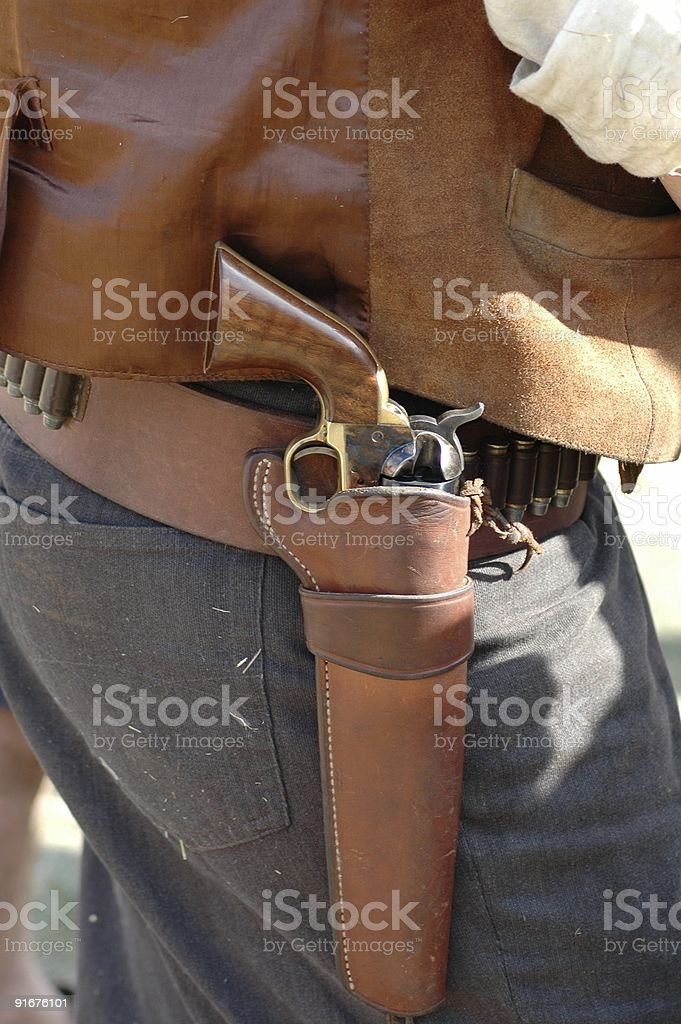 Western pistol in holster royalty-free stock photo