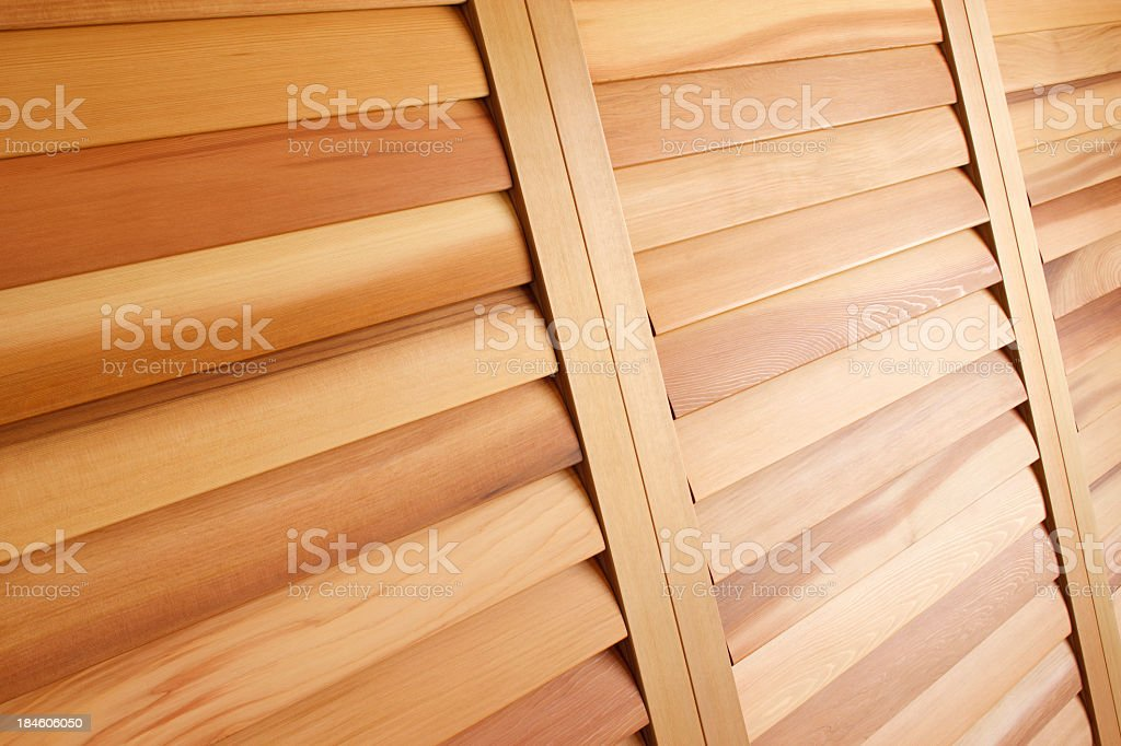Western Red Cedar Plantation Shutters (Closed) stock photo