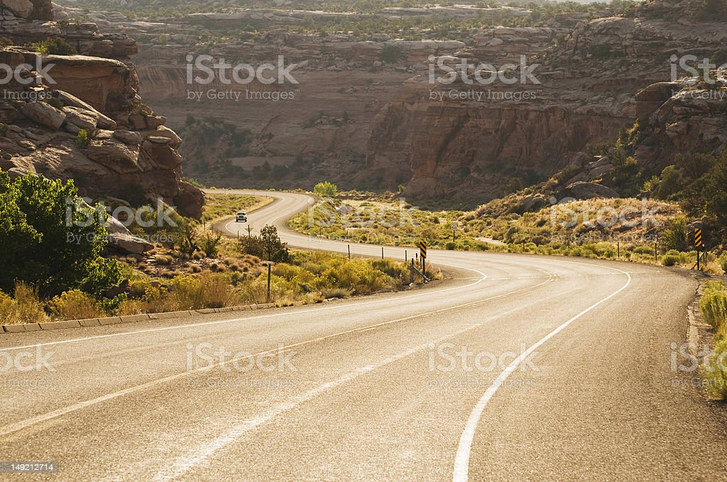 Western road at sunset royalty-free stock photo