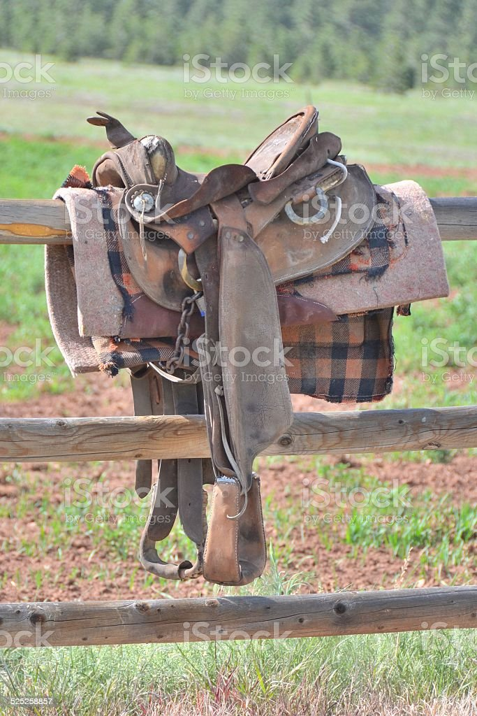 Western Saddle stock photo