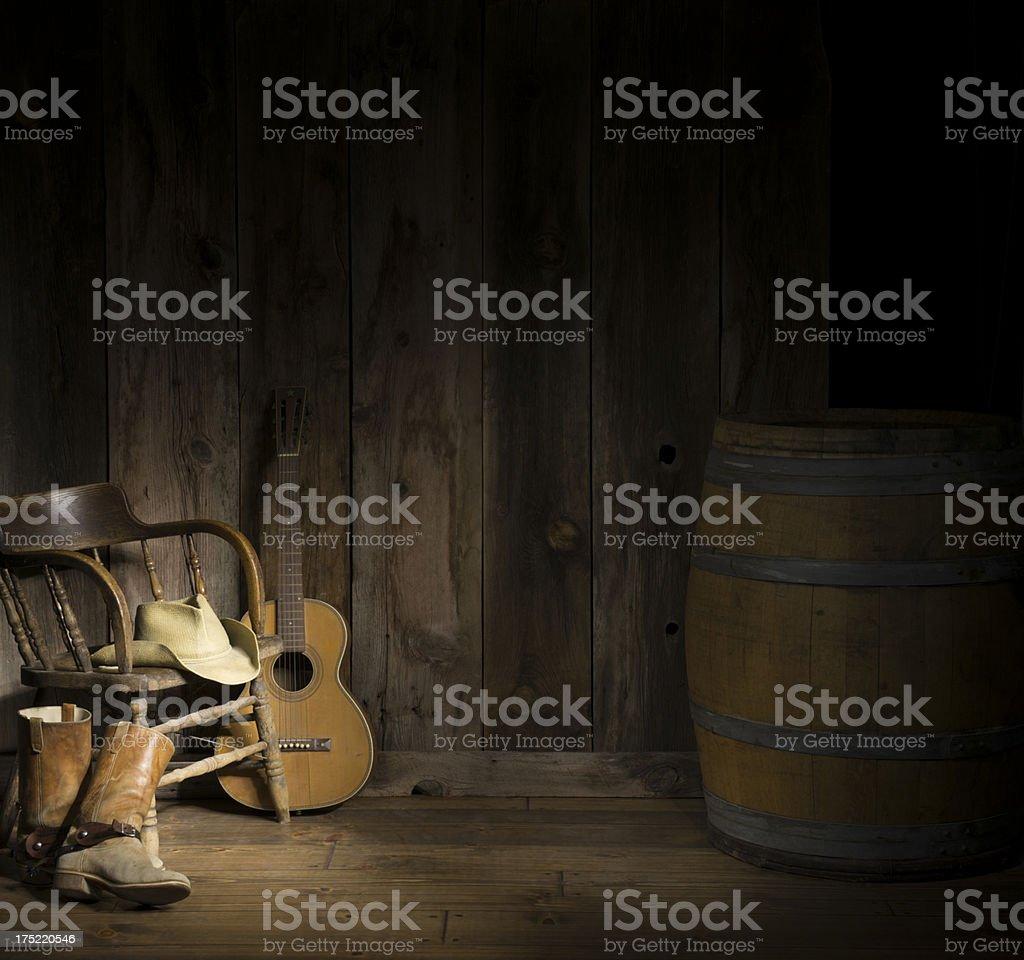 Western scene w/guitar stock photo
