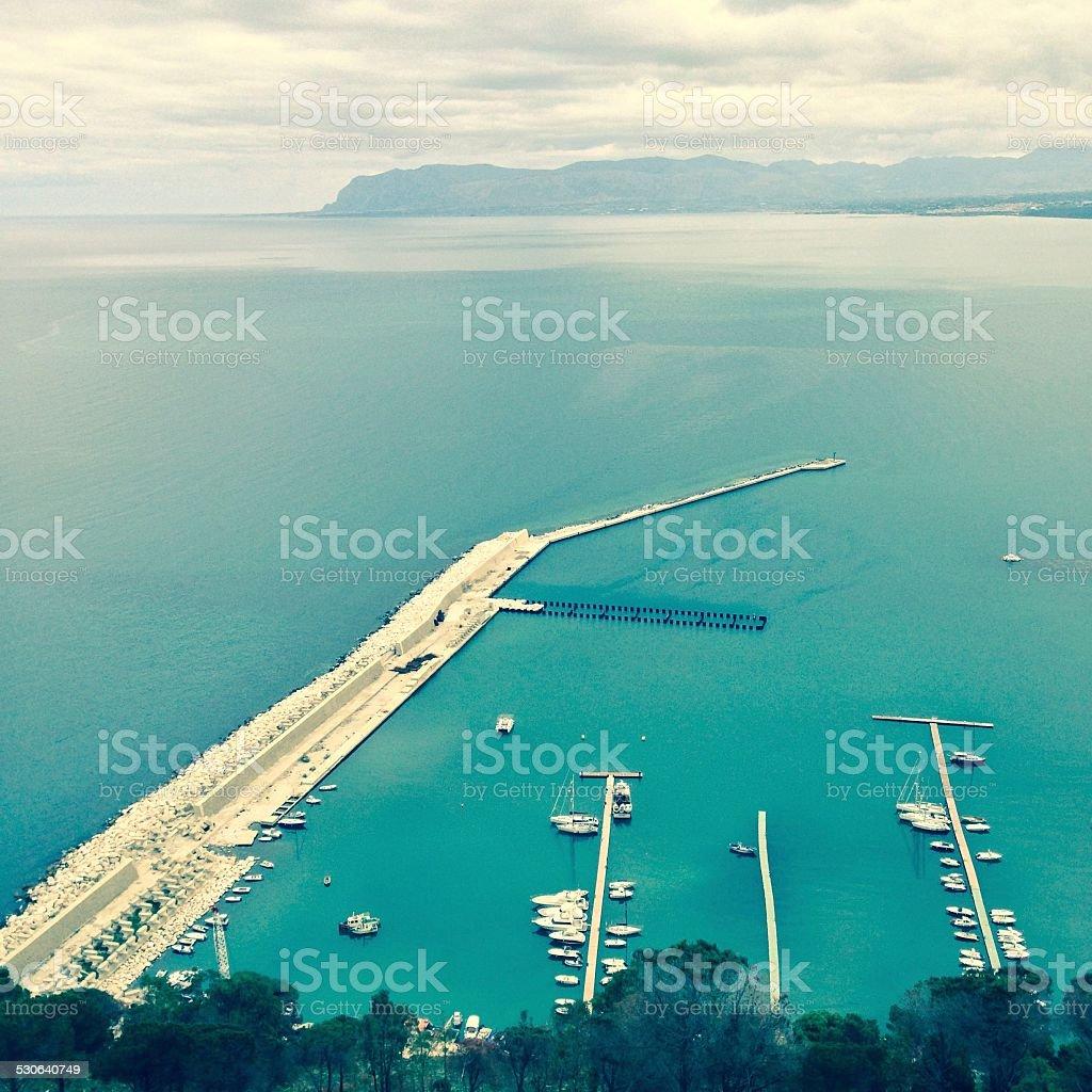Western Sicily panorama from Castellammare del Golfo stock photo