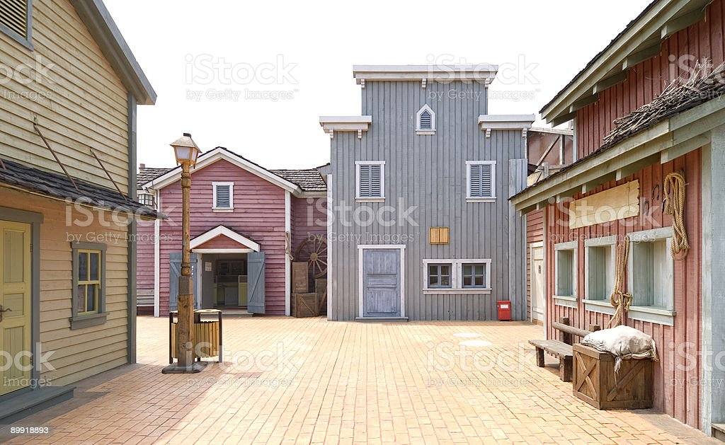 western town street stock photo