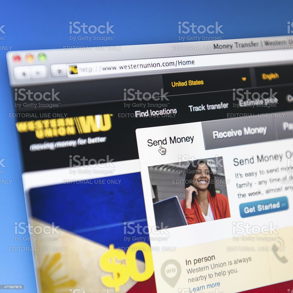 western union payment method website stock photo