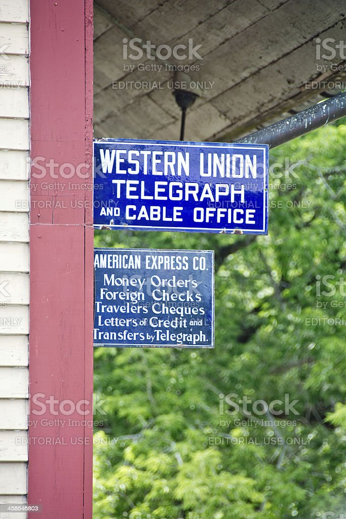Western Union sign at the old railroad depot stock photo