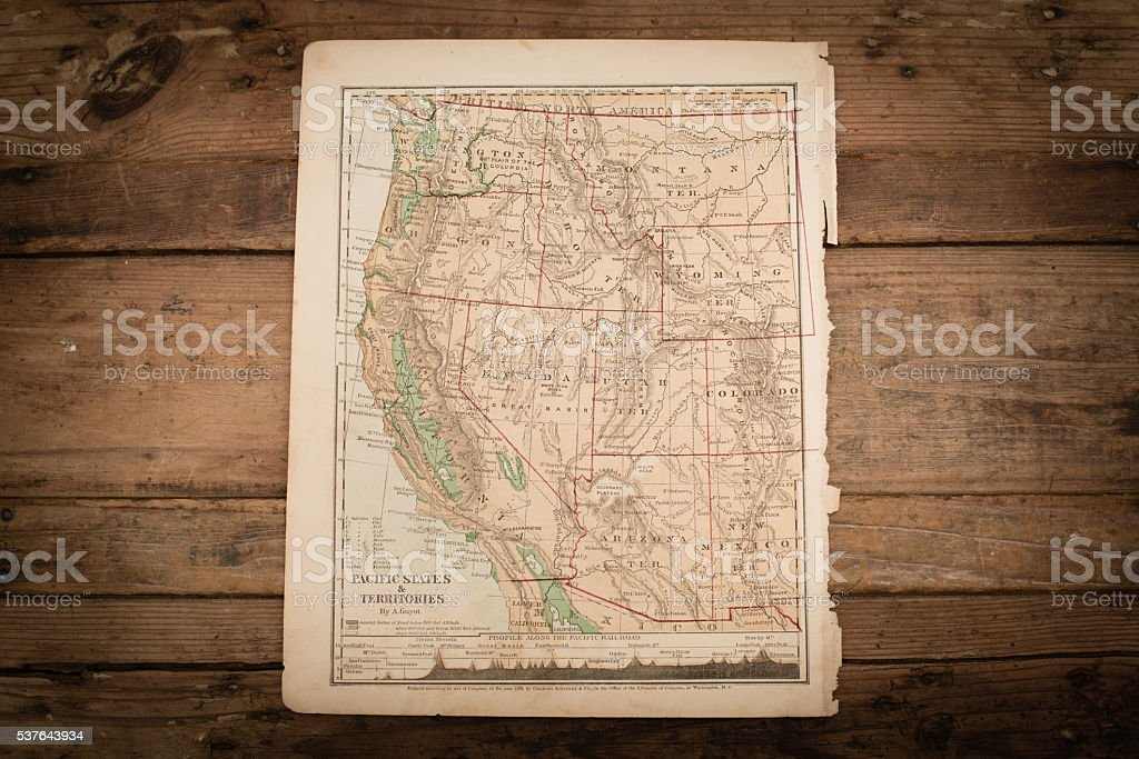 Western United States Map Illustration, Travel, Antique 1871 Book Page stock photo