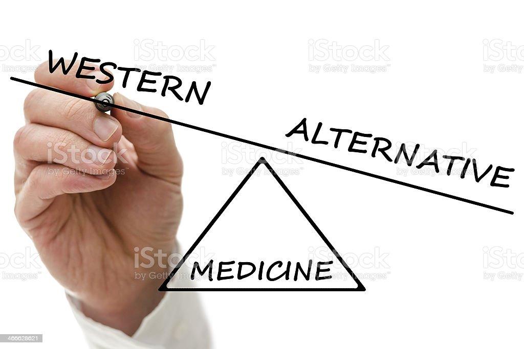 Western vs alternative medicine stock photo
