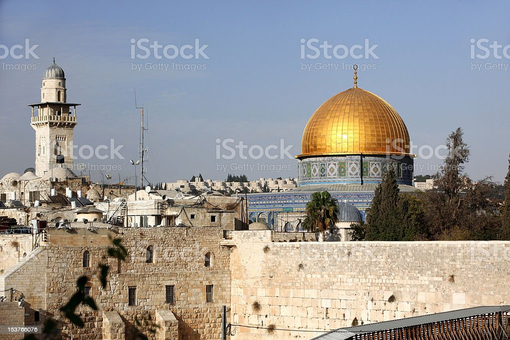Western Wall and Dome of the Rock in Jerusalem, Israel stock photo