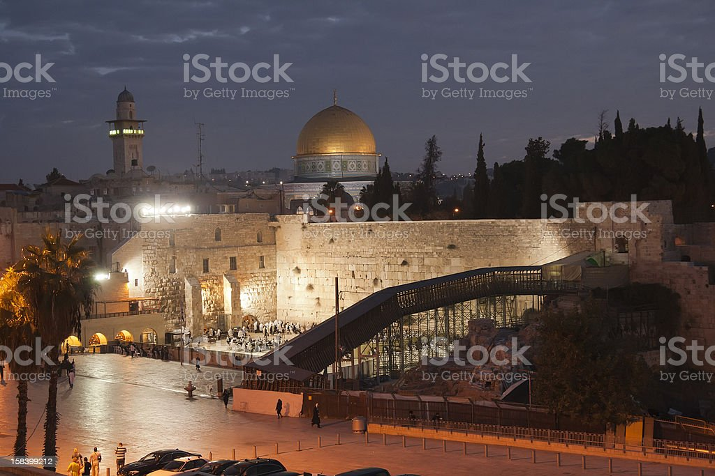 Western Wall and Dome of the Rock Mosque royalty-free stock photo