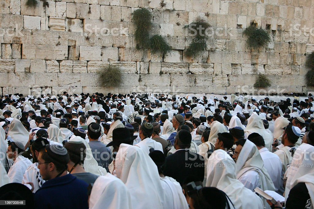 western wall at dawn stock photo