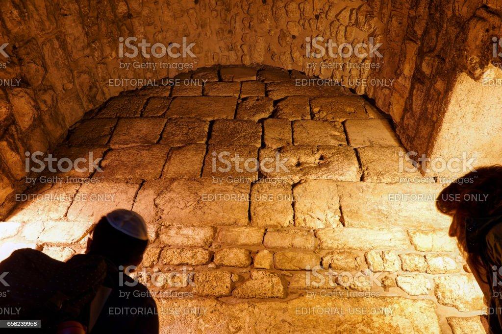 Western (Wailing) Wall at Kotel Tunnels, Old City of Jerusalem stock photo