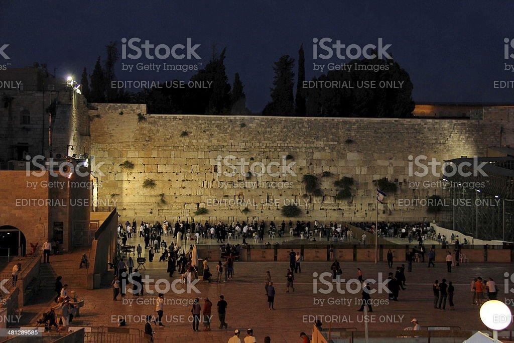 Western Wall Prayers at night stock photo