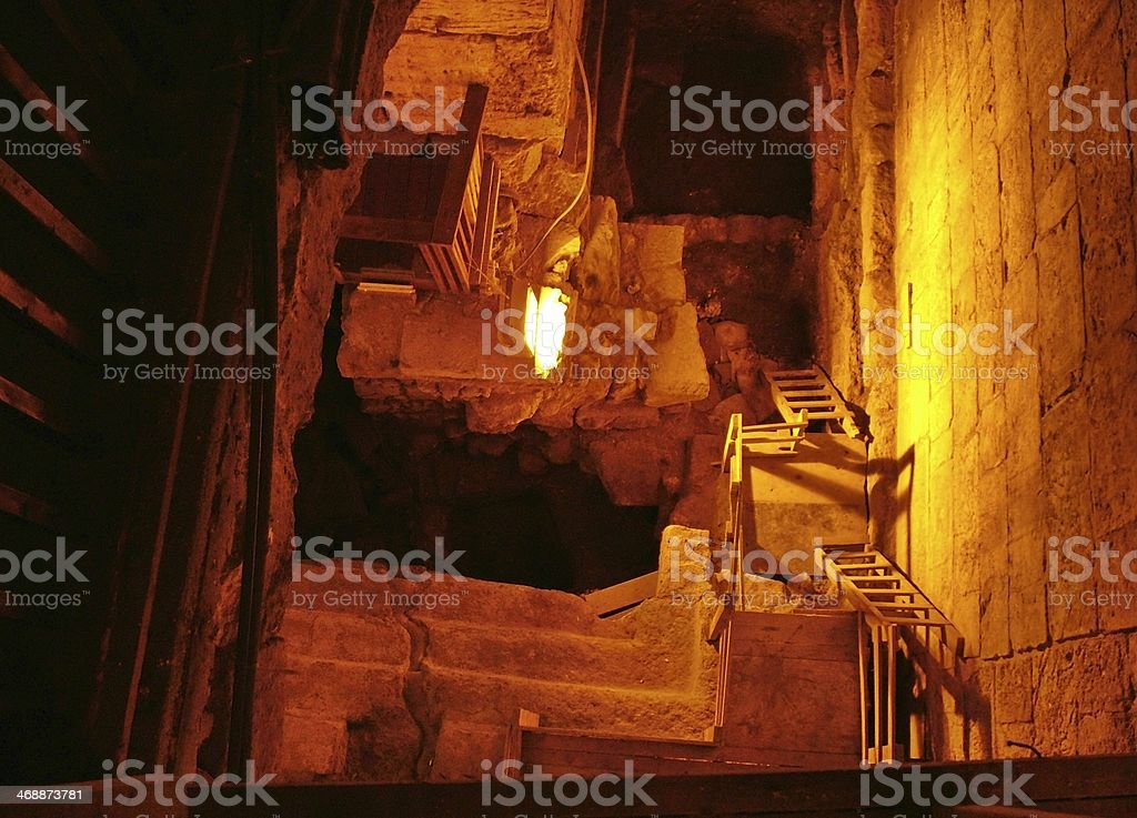 Western Wall Tunnel. 485 metres stock photo