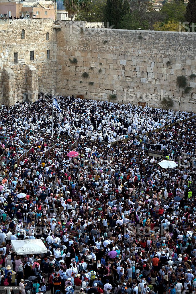 Western Wall Worshipers Portrait stock photo