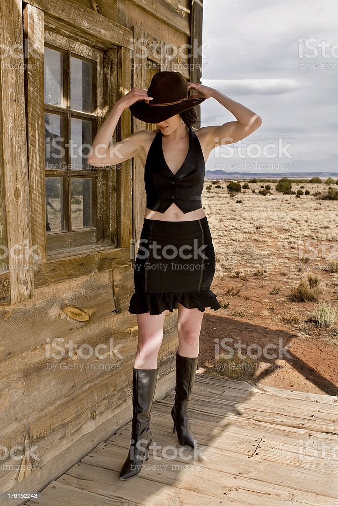 Western Woman in the Desert stock photo