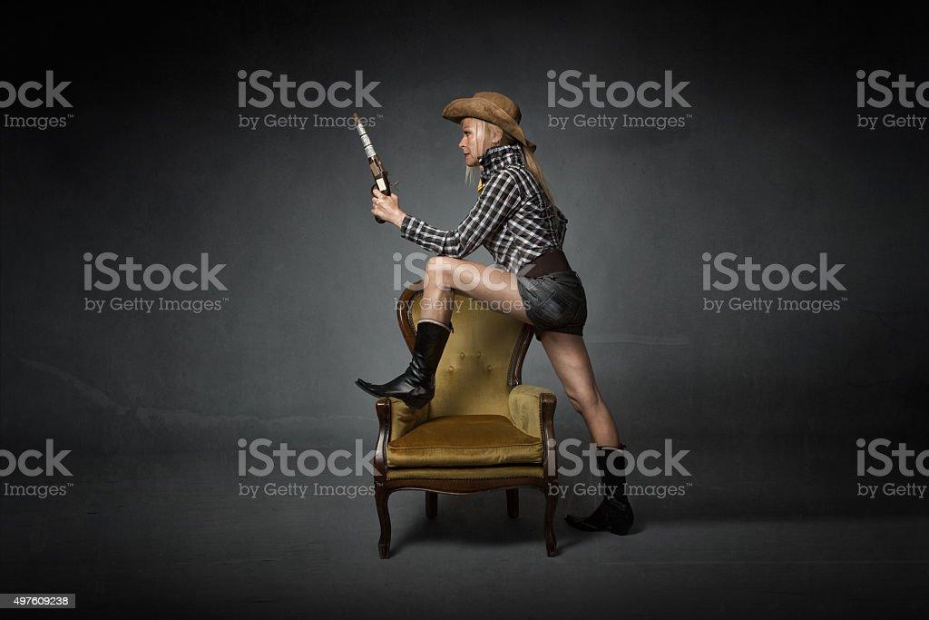 western woman profile viewing stock photo