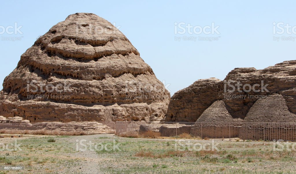 Western Xia tombs at the foot of Helan Mountains is famous ancient landmark in Ningxia province of China stock photo