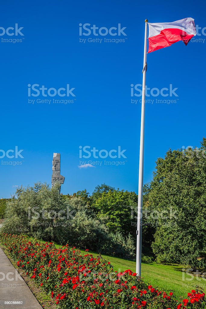 Westerplatte. Monument commemorating first battle of Second Worl stock photo