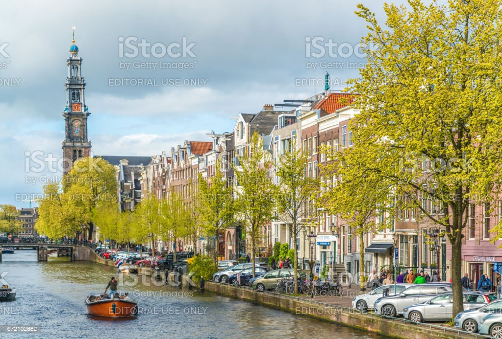 Westertoren seen from the Prinsengracht Canal stock photo