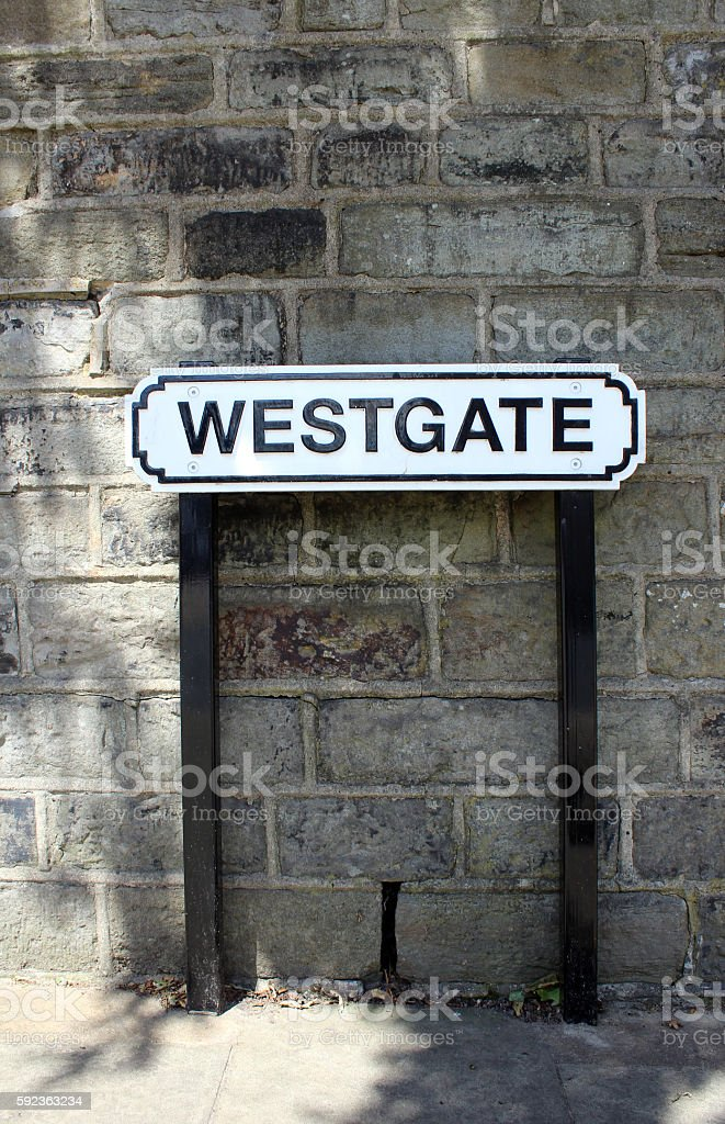 Westgate street name sign stock photo