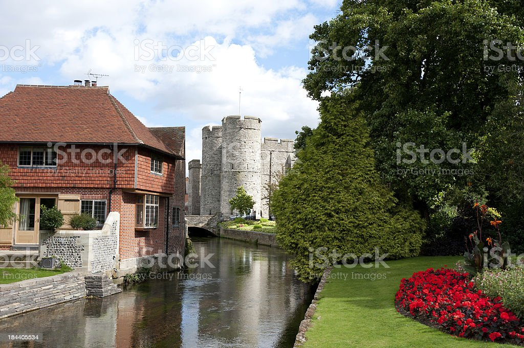 Westgate Tower and the River Stour, Canterbury, UK stock photo