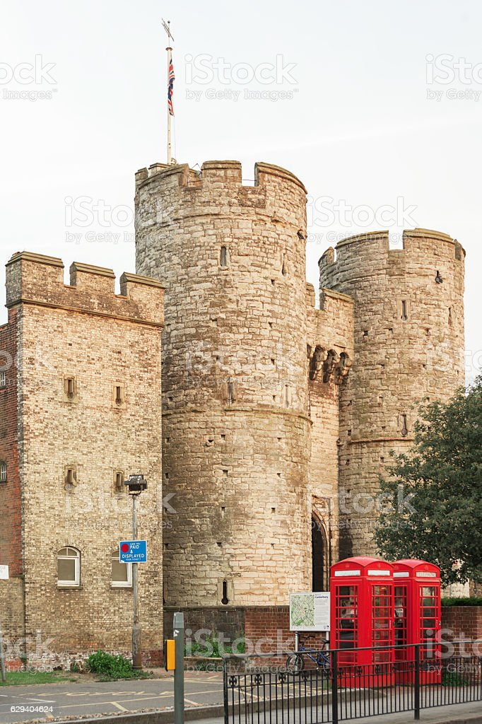 Westgate with twins british red phone booth. Canterbury, Kent, UK royalty-free stock photo