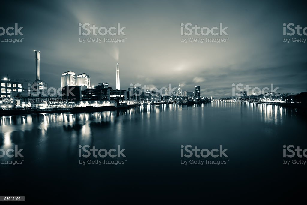 Westhafen at night - Frankfurt am Main stock photo