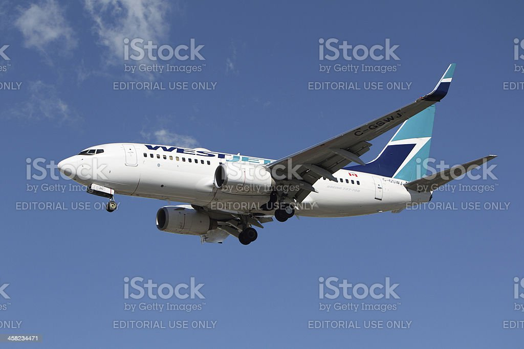 WestJet Airlines Boeing 737-7CT royalty-free stock photo